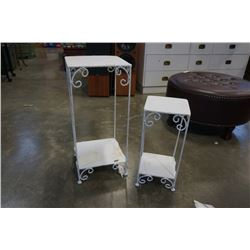 2 WHITE DECORATIVE METAL NESTING STANDS