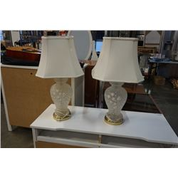 2 WHITE GLASS TABLE LAMPS