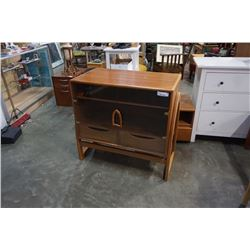 HADN CRAFTED SOLID TEAK GLASS DOOR CABINET WITH PULL OUT DRAWERS