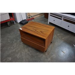 MADE IN DENMARK SOLID TEAK ROLLING 1 DRAWER STAND