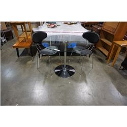 CHROME GLASSTOP PALUCCI DINING TABLE WITH 2 LEATHER CHAIRS