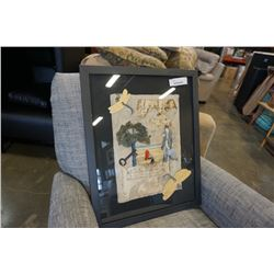 FRAMED MUSIC COLLAGE WITH INSCRIPTIONS