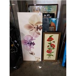 CANVAS ORCHID PRINT AND CROSS STITCH FLOWERS