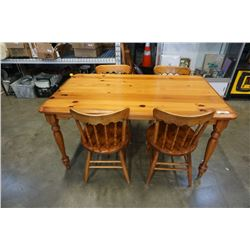 WOOD DINING TBALE WITH 4 CHAIRS