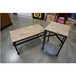 MARBLE TOP IRON BASE COFFEE AND END TABLE SET