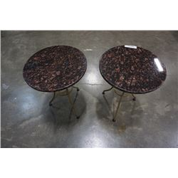 PAIR OF MARBLE TOP SIDE TABLES