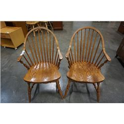 TWO OAK HOOPBACK ARM CHAIRS