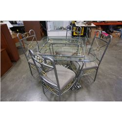 METAL GLASSTOP DINING TABLE WITH 4 CHIARS