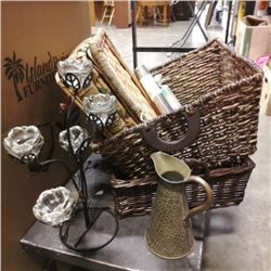 LOT OF WICKER BASKETS AND TEA LIGHT HOLDERS WITH CANDLE AND INSENCE