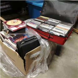 BOX OF CDS AND BAG OF RETRO CASSETTE TAPES