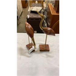 2 BRASS AND WOOD BIRD FIGURES
