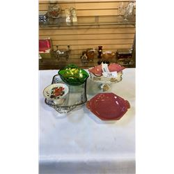 LOT OF CHINA DISHES, ROYAL WINTON, LIMOGES, AND GLASS OVERLAY DISHES