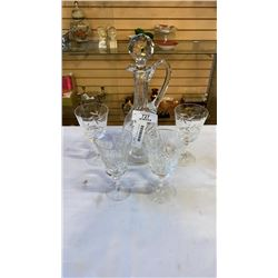 CRYSTAL DECANTER AND 4 GLASSES
