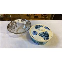 HAND PAINTED LIDDED JAR AND SILVER ETCHED BOWL