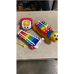 FISHER PRICE KIDS PHONE, XYLOPHONE AND DOG XYLOPHONE