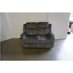BRAND NEW GREY VELVET DOUBLE RECLINING LOVE SEAT - RETAIL $599