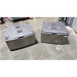 AS NEW PAIR OF 27 INCH LAUNDRY PEDESTALS - STAINLESS