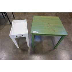 GREEN ENDTABLE AND WHITE SIDE TABLE