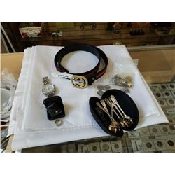 SILVER RING, SILVER PLATE SPOONS, COPY BREITLING WATCH AND COPY GUCCI BELT