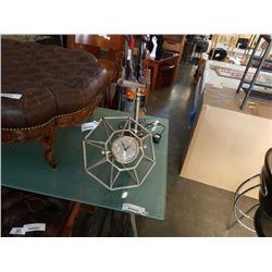 METAL FRAMED DESK CLOCK AND LED TABLE LAMP