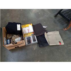 BOX OF NEW MENS CLOTHES, DRESS PANTS, PANTS