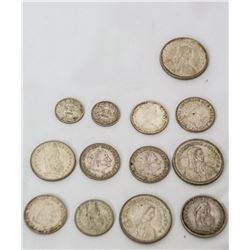 Coins - 13 pc Silver Foreign Coin Lot