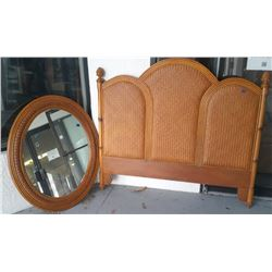 Furniture - 2 pc Florida Rattan Headboard and Mirror