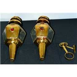 Collectible - 2 pc Brass Wall Mount Oil Lamps