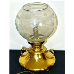 Collectible - Made In USA Converted Brass Oil Lamp