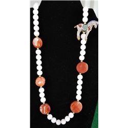 Jewelry - Cloisonne Horse Charm & Quartz Necklace