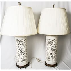Collectible - Mid Century Asian Porcelain Ginger Jar Lamps