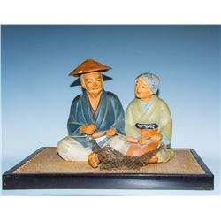 Collectible - Vintage Asian Hakata Doll Set with A Fisherman and Wife