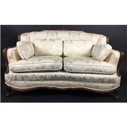 Collectible - Damask Fabric Antique Sofa