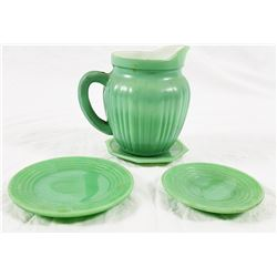 Collectible - Jadeite Plates & A Coated Milk Glass Creamer
