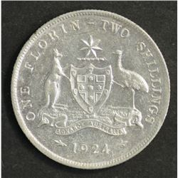 Australia 1924 Florin Good VF with Lustre