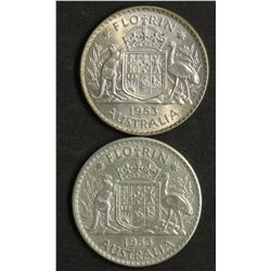 Australia 1953 Florin Long Denticles