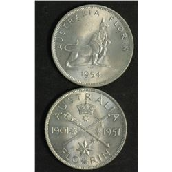 Australia Florins 1951 Fed & 1954 RV Gem Unc