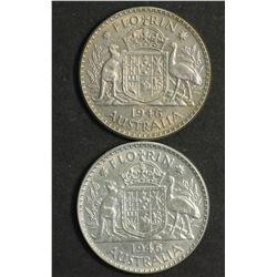 Australia Florins 1946 & 46 Large 6