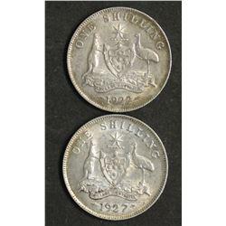 Australia 1922 & 1927 Shillings
