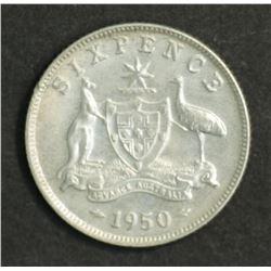 Australia Sixpence 1950