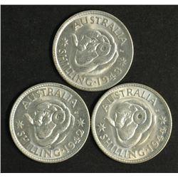 Australia Shillings 1942 S, 1943 S, 1944S