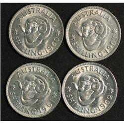 Australia Shillings 1960,1961m,1962,1963