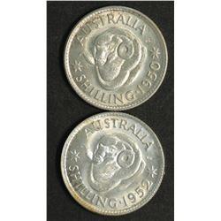 Australia Shillings 1950 & 1952