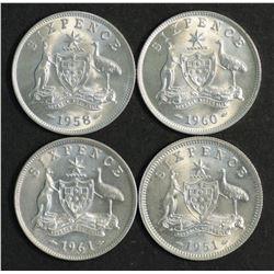 Australia Sixpences 1951Pl, 58,60,61