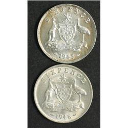 Australia Sixpences 1945 & 1948