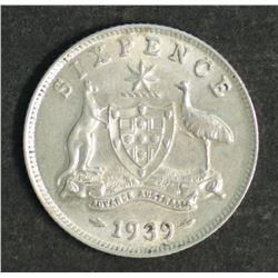 Australia 1939 Sixpence Good EF Scarce