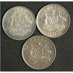 Australia Threepences 1925, 1926 & 1927