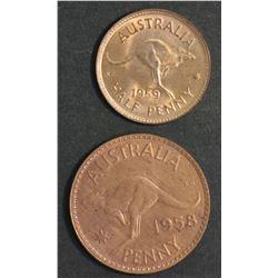Australia Halfpenny 1959 & Penny 1958