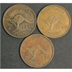 Australia 1946 Pennies VF ( 3 Coins)
