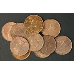 Australia 1964 Melbourne Pennies Gem Uncirculated (10)